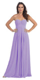 Strapless Ruched Bodice Lilac Long A Line Semi Formal Dress