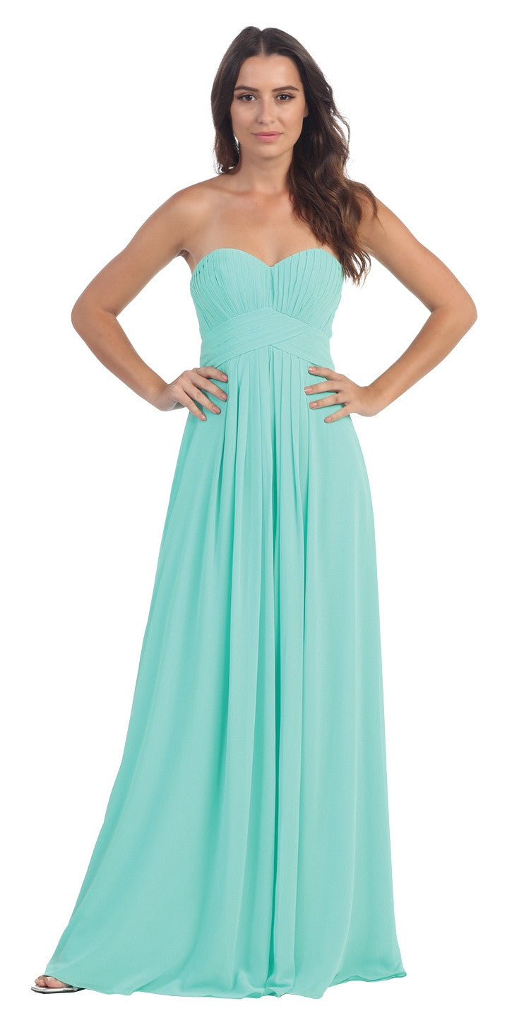 Strapless Ruched Bodice Champagne Long A Line Semi Formal Dress ...