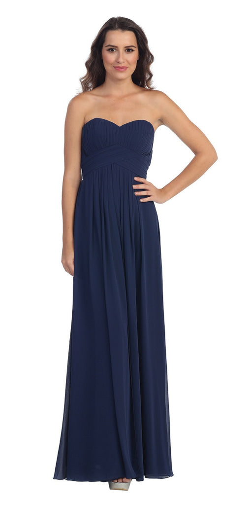 Strapless Ruched Bodice Navy Blue Long A Line Semi Formal Dress