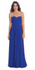 Strapless Ruched Bodice Royal Blue Long A Line Semi Formal Dress
