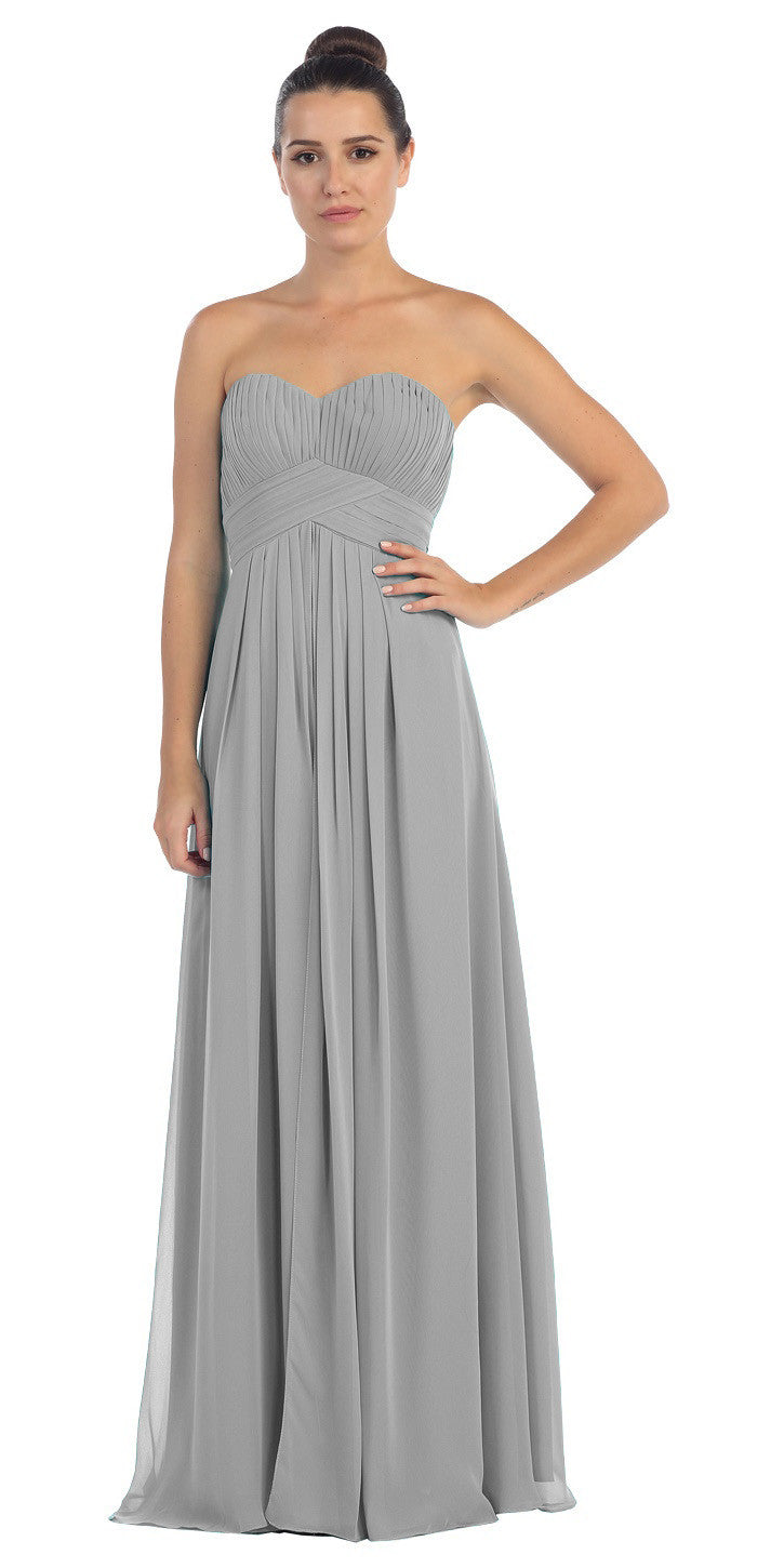 Strapless Ruched Bodice Silver Long A Line Semi Formal Dress