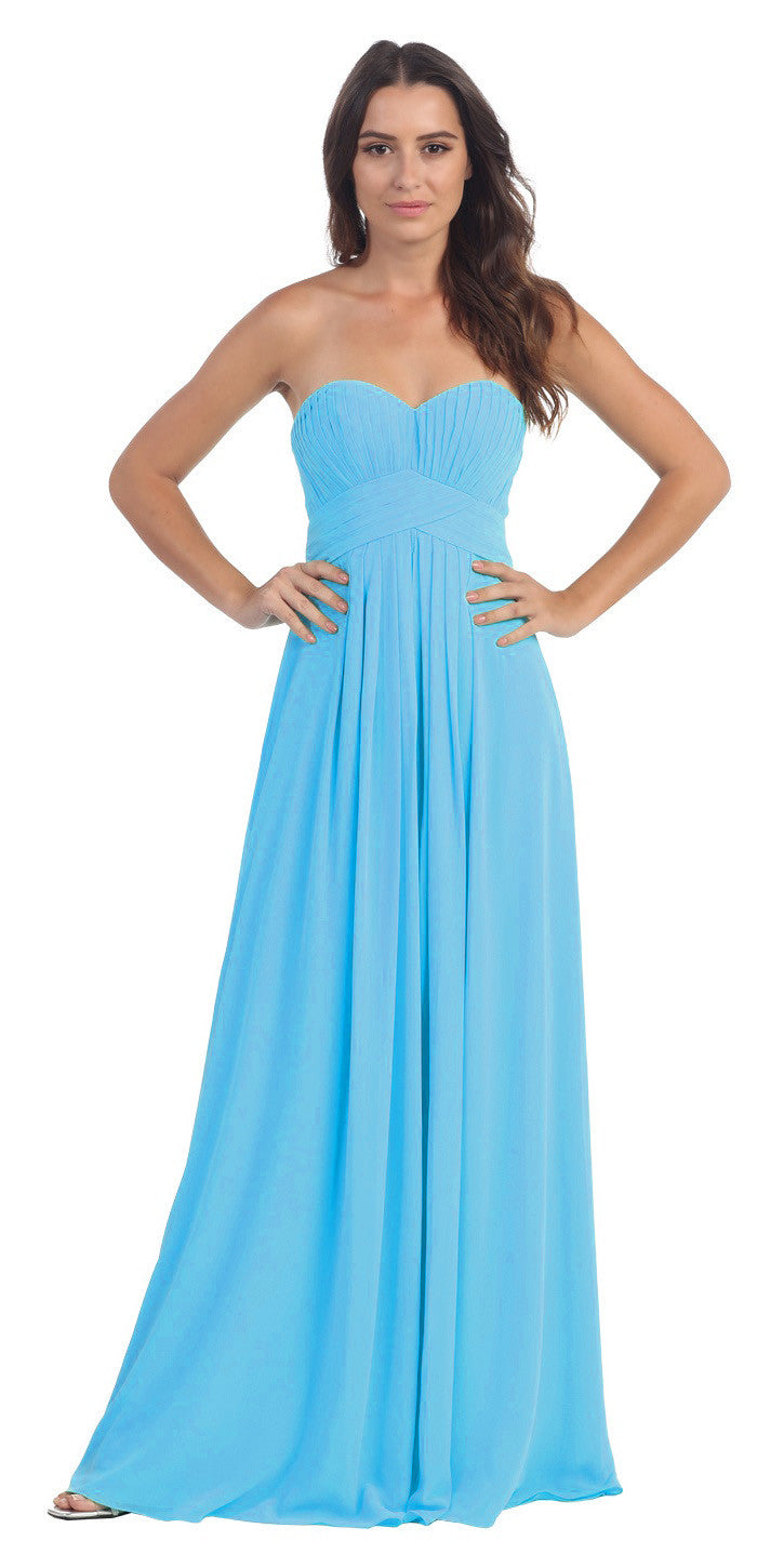 f46e3f70773 ... Strapless Ruched Bodice Turquoise Long A Line Semi Formal Dress ...
