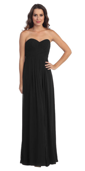 Strapless Ruched Bodice Black Long A Line Semi Formal Dress