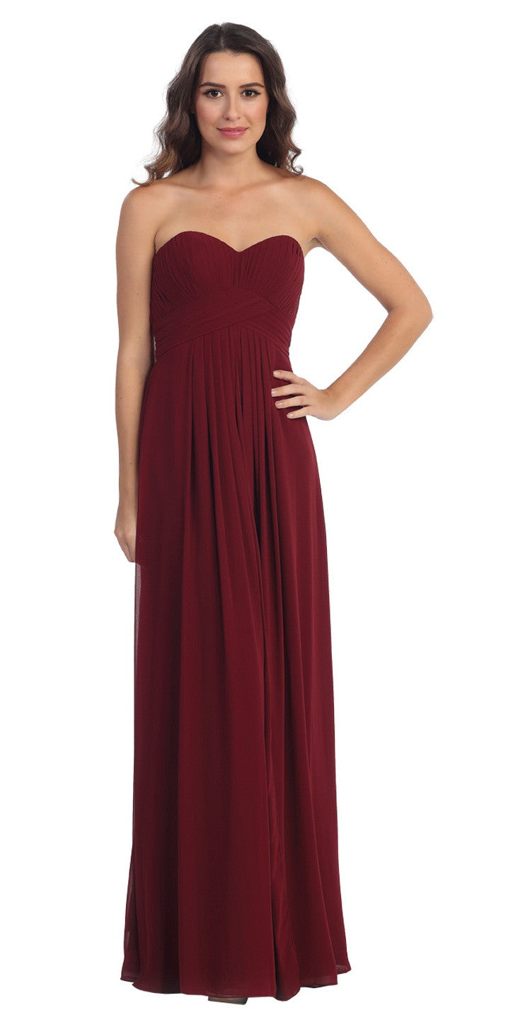 Strapless Ruched Bodice Burgundy Long A Line Semi Formal Dress