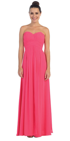 Strapless Ruched Bodice Fuchsia Long A Line Semi Formal Dress