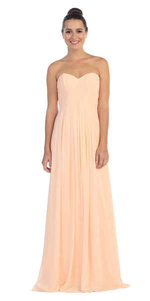 Strapless Ruched Bodice Peach Long A Line Semi Formal Dress