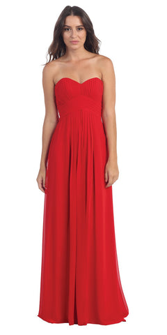 Long Pleated Semi Formal Dress Spaghetti Straps Red