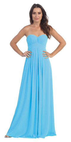 Strapless Ruched Bodice Turquoise Long A Line Semi Formal Dress