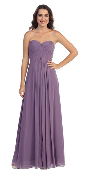 Strapless Ruched Bodice Victorian Lilac Long A Line Semi Formal Dress