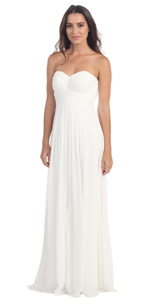 Strapless Ruched Bodice White Long A Line Semi Formal Dress