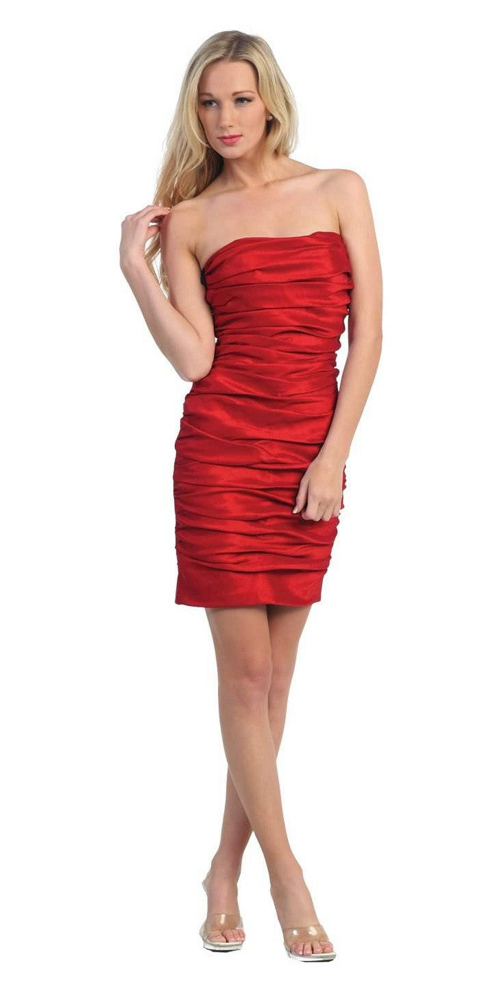 Red Short Cocktail Dress Strapless Tight Form Fit Ruched