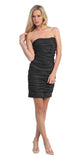 Black Short Cocktail Dress Strapless Tight Form Fit Ruched