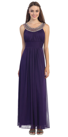 Studded Bateau Neckline Ruched Bodice Purple Evening Dress