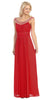 Studded Bateau Neckline Ruched Bodice Red Evening Dress