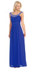 Studded Bateau Neckline Ruched Bodice Royal Blue Evening Dress
