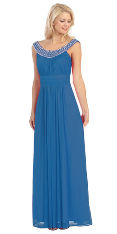 Studded Bateau Neckline Ruched Bodice Teal Evening Dress