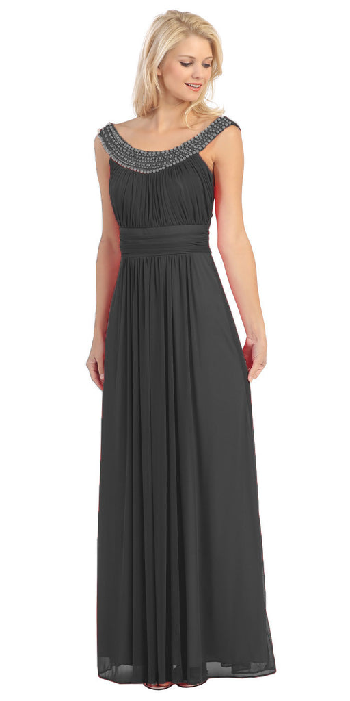 Studded Bateau Neckline Ruched Bodice Black Evening Dress
