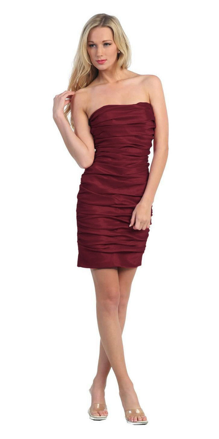 Burgundy Short Cocktail Dress Strapless Tight Form Fit Ruched
