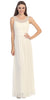 Studded Bateau Neckline Ruched Bodice Ivory Evening Dress