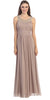 Studded Bateau Neckline Ruched Bodice Mocha Evening Dress