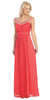 Studded Bateau Neckline Ruched Bodice Coral Evening Dress