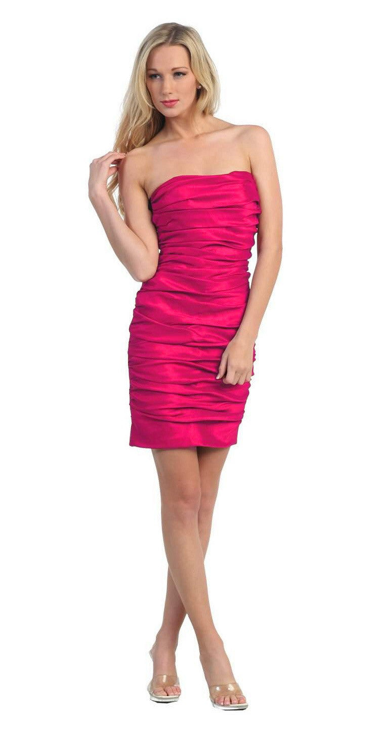 Fuchsia Short Cocktail Dress Strapless Tight Form Fit Ruched