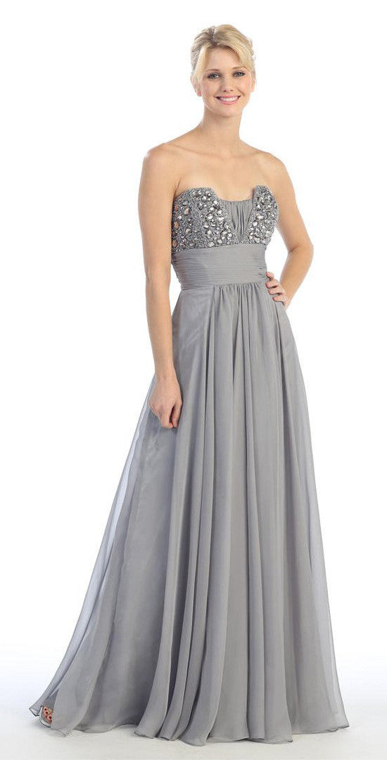 Studded Bodice A Line Long Silver Ball Gown