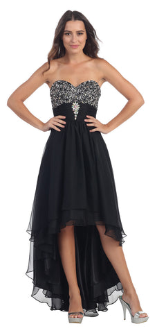 Studded Bodice Strapless High Low Black Layered Prom Dress