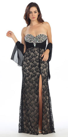 Studded Bodice Strapless Lace Long Black Gold Prom Gown