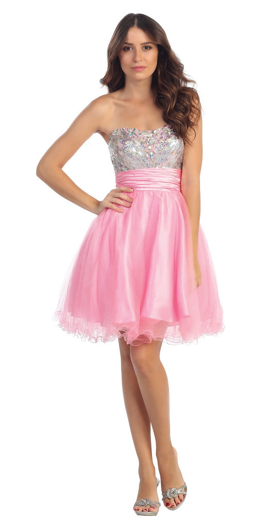 Starbox USA 6035 Studded Bodice Strapless Ruched Short Pink Sweet 15 Dress