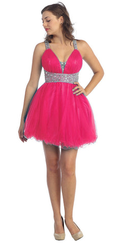 Studded Halter Neckline Empire Waist Fuchsia Cocktail Dress