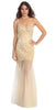 Studded Long Sleeveless Nude Mermaid Celebration Gown
