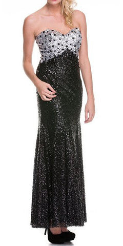 Black/Silver Sequins Formal Evening Gown Long Strapless Sweetheart