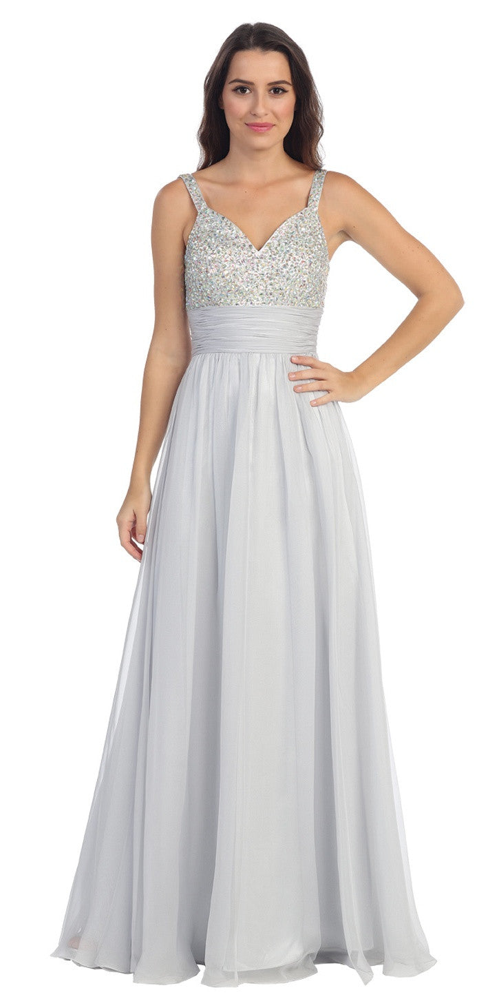 Studded Sleeveless Long Silver A Line Formal Evening Gown