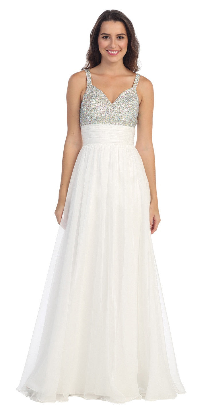 Studded Sleeveless Long Off White A Line Formal Evening Gown