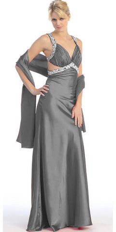 Studded Straps Ruched Bodice Long Charcoal Pageant Dress