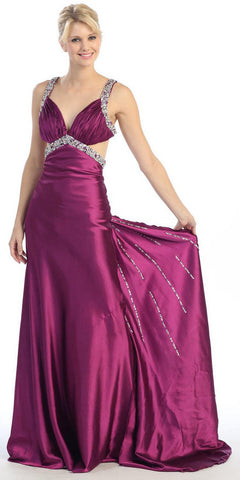 Studded Straps Ruched Bodice Long Magenta Pageant Dress