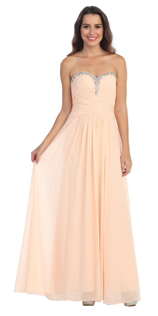 Studded Sweetheart Neck Peach Long A Line Prom Strapless Gown