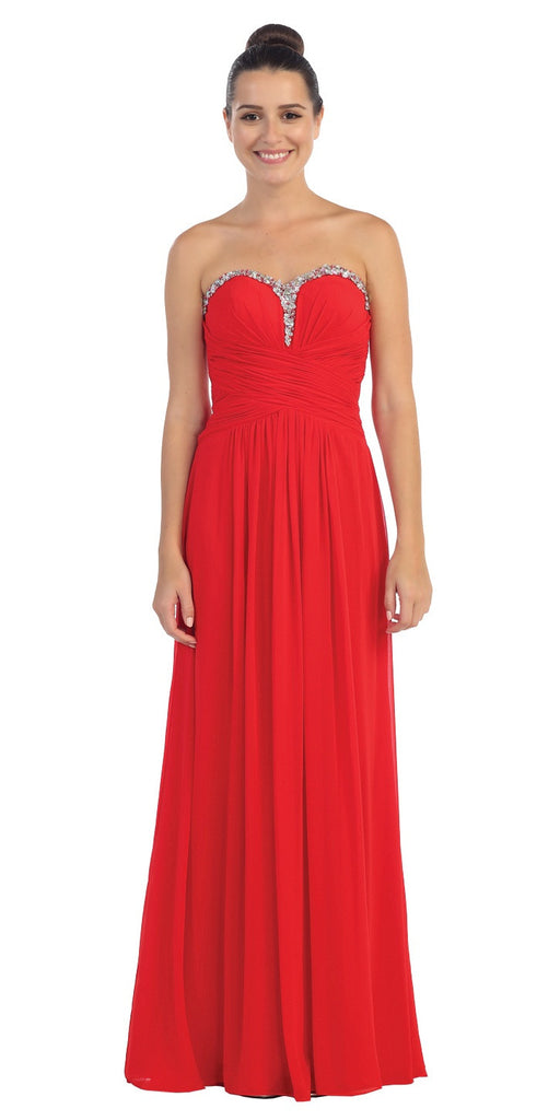 Studded Sweetheart Neck Red Long A Line Prom Strapless Gown