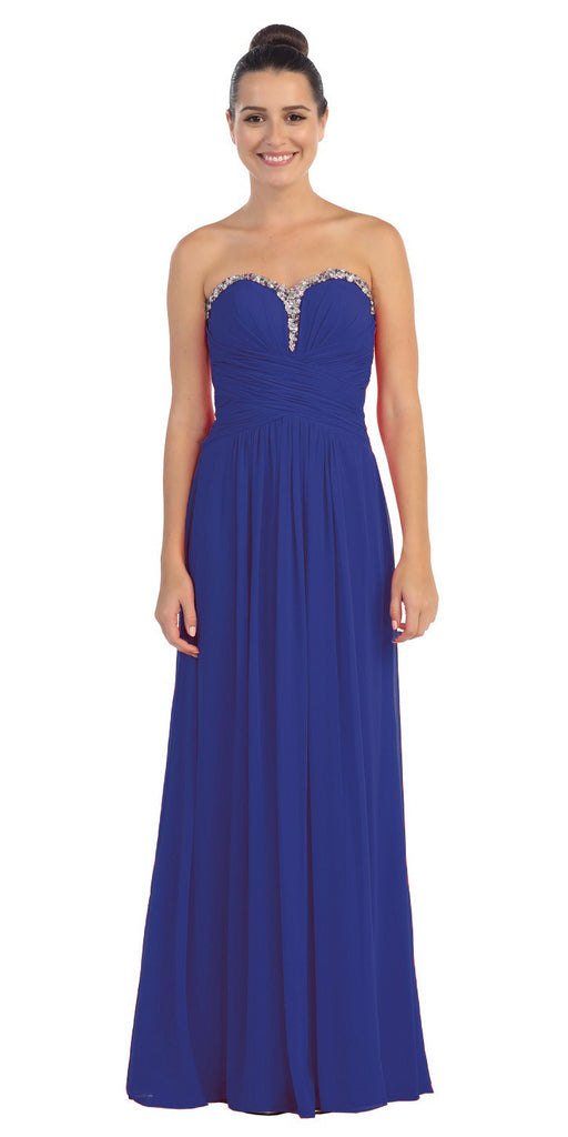 Studded Sweetheart Neck Royal Blue Long A Line Prom Strapless Gown