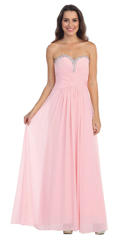 Studded Sweetheart Neck Blush Long A Line Prom Strapless Gown