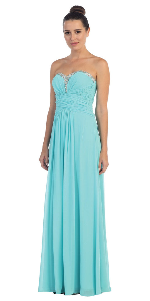 Studded Sweetheart Neck Tiffany Blue Long A Line Prom Strapless Gown