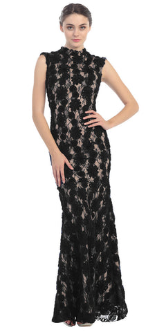 Subtle Mermaid Flair Dress Black Gold High Neckline Pop Lace