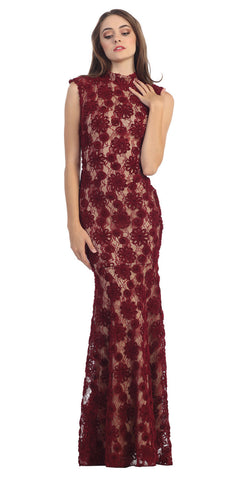 Subtle Mermaid Flair Dress Burgundy Gold High Neckline Pop Lace
