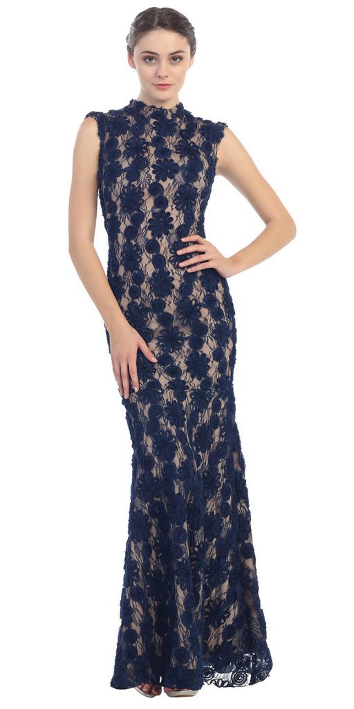 Subtle Mermaid Flair Dress Navy Gold High Neckline Pop Lace