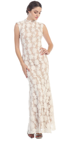 Subtle Mermaid Flair Dress Ivory Gold High Neckline Pop Lace