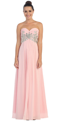 Sweetheart Neck Blush Formal Gown Long Flowy Strapless