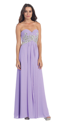 Sweetheart Neck Lilac Formal Gown Long Flowy Strapless