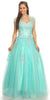 Sweetheart Neck Embroidered Strapless Mint Ball Gown