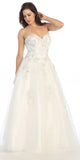 Sweetheart Neck Embroidered Strapless Off White Ball Gown